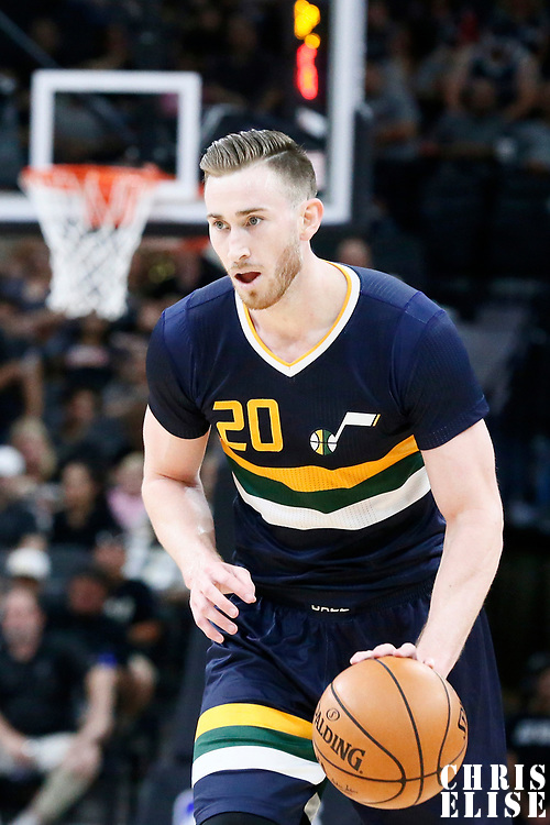 02 April 2017: Utah Jazz forward Gordon Hayward (20) is seen during the San Antonio Spurs 109-103 victory over the Utah Jazz, at the AT&T Center, San Antonio, Texas, USA.