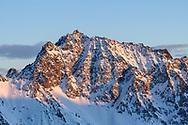 Alpen glow on the Piz Arblatsch, Savognin, Parc Ela, Grisons, Switzerland