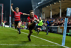 Jason Woodward of Gloucester Rugby scores a try - Mandatory by-line: Robbie Stephenson/JMP - 16/11/2018 - RUGBY - Kingsholm - Gloucester, England - Gloucester Rugby v Leicester Tigers - Gallagher Premiership Rugby