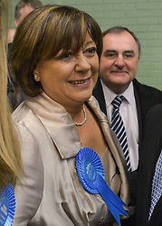 © Licensed to London News Pictures. 01/03/2013. Eastleigh, UK. Conservative candidate Maria Hutchins and her husband Stuart arrive at the count. Ballot boxes begin to arrive at the count centre at  Fleming Park Leisure Centre in Eastleigh this evening. The voters of Eastleigh vote to choose a new MP in a by-election prompted by the resignation of former Lib Dem cabinet minister Chris Huhne. Polling will continued 22:00 GMT 28/02/13, with votes counted overnight on Thursday. There are 14 candidates in total on the ballot papers.. Photo credit : Stephen Simpson/LNP
