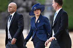 © Licensed to London News Pictures. 23/10/2018. London, UK. British prime minister THERESA MAY is seen attending a ceremony on Horse Guards Parade in London for the arrival of King Willem-Alexander and Queen Maxima of the Netherlands as part of a state visit to the UK. Photo credit: Ben Cawthra/LNP
