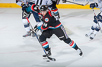 KELOWNA, CANADA - SEPTEMBER 9: Jake Kryski #14 of Kelowna Rockets skates with the puck against the Kamloops Blazers on September 9, 2016 at Prospera Place in Kelowna, British Columbia, Canada.  (Photo by Marissa Baecker/Shoot the Breeze)  *** Local Caption *** Jake Kryski;