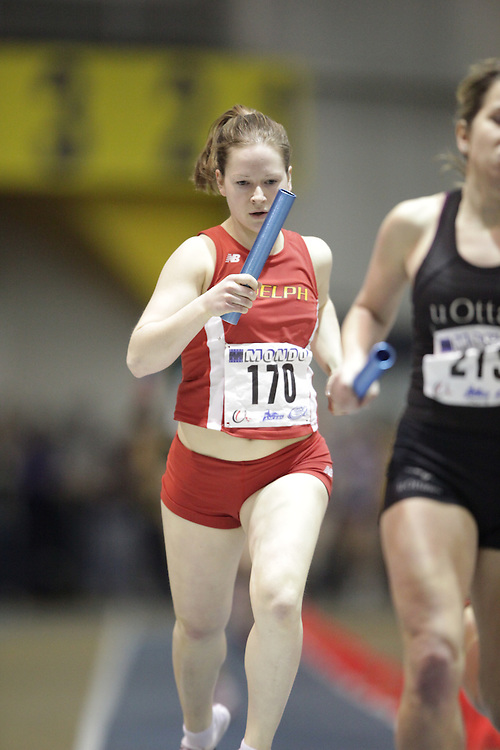 Windsor, Ontario ---13/03/09--- Jess Vanhie of  the University of Guelph competes in the 4X800 metre relay at the CIS track and field championships in Windsor, Ontario, March 13, 2009..GEOFF ROBINS Mundo Sport Images