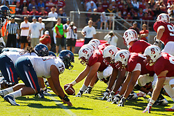 PALO ALTO, CA - OCTOBER 06: General view of the line of scrimmage during the third quarter between the Stanford Cardinal and the Arizona Wildcats at Stanford Stadium on October 6, 2012 in Palo Alto, California. The Stanford Cardinal defeated the Arizona Wildcats 54-48 in overtime. (Photo by Jason O. Watson/Getty Images) *** Local Caption ***