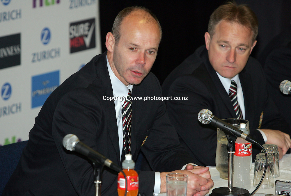 Lions coach Clive Woodward speaking at the press conference after the British and Irish Lions v Bay of Plenty rugby match at Rotorua International Stadium, Rotorua, New Zealand on Saturday 4 June, 2005. The Lions won the match, 34 - 20. Photo: Hannah Johnston/PHOTOSPORT<br />