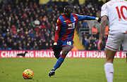 Yannick Bolasie whips in a ball during the Barclays Premier League match between Crystal Palace and Liverpool at Selhurst Park, London, England on 6 March 2016. Photo by Michael Hulf.