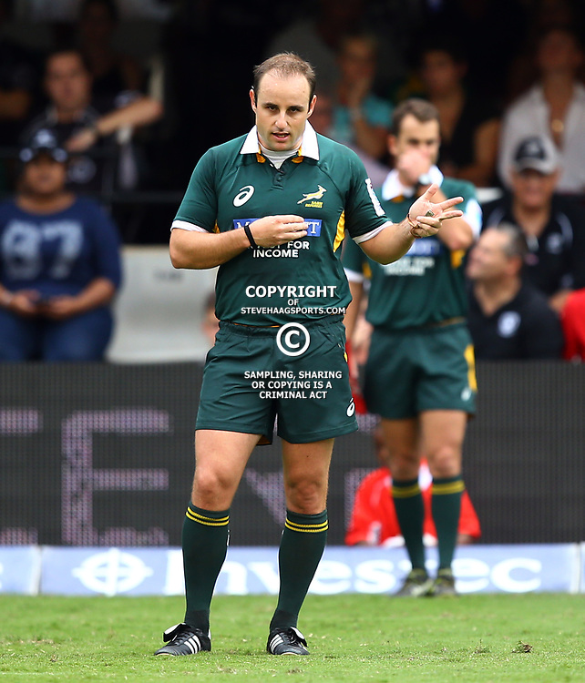 DURBAN, SOUTH AFRICA - APRIL 04: Referee:Stuart Berry (South Africa) during the Super Rugby match between Cell C Sharks and Crusaders at Growthpoint Kings Park on April 04, 2015 in Durban, South Africa. (Photo by Steve Haag/Gallo Images)