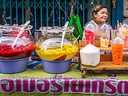 20 APRIL 2013 - BANGKOK, THAILAND:   A street food vendor with her deserts in Talat Noi (Talat means Market, Noi means Small. Literally Small Market). The Talat Noi neighborhood in Bangkok started as a blacksmith's quarter. As cars and buses replaced horse and buggy, the blacksmiths became mechanics and now the area is lined with car mechanics' shops. It is one the last neighborhoods in Bangkok that still has some original shophouses and pre World War II architecture. It is also home to a  Teo Chew Chinese emigrant community.   PHOTO BY JACK KURTZ