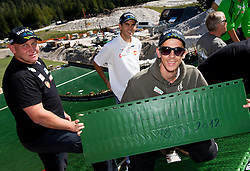 Goran Janus, Jernej Damjan and Jure Sinkovec  at media day of Slovenian Ski jumping team during construction of two new ski jumping hills HS 135 and HS 105, on September 18, 2012 in Planica, Slovenia. (Photo By Vid Ponikvar / Sportida)