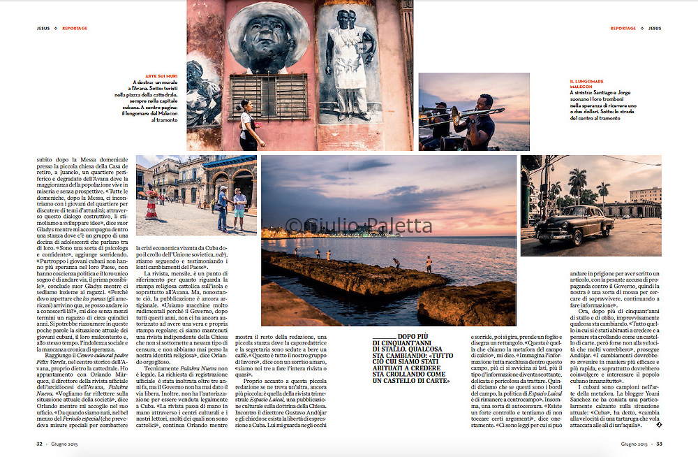 Reportage on CUBA for JESUS Magazine, cover story, June 2015, Italy