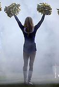 A San Diego Chargers cheerleader waves pom poms during pregame player introductions before the NFL week 15 regular season football game against the Denver Broncos on Sunday, Dec. 14, 2014 in San Diego. The Broncos won the game 22-10. ©Paul Anthony Spinelli