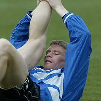 St Johnstone Training..10.05.02   <br />Darren Dods limbers up during training before he faces his old team in St Johnstone's final SPL game before relegation<br />see story by Gordon Bannerman Tel:01738 553978<br /><br />Picture by Graeme Hart.<br />Copyright Perthshire Picture Agency<br />Tel: 01738 623350  Mobile: 07990 594431