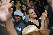 """People dancing, partying, and have a good time at Lee Jones's open air Sundae dance party in 2009. This weekly event is held at the the Piazza at Schmidt's in Northern Liberties in Philadelphia each Sunday. Photos in this group are from Sundae at Octo on 9-06-09 labor day weekend and at Silk City. Music was spun by Dj Dirty, King Britt & Dozia as the Dynomite Brothers, and Sean Diaz played a guest set. Tanja Dixon also performed her new single, """"Take Your Time."""""""