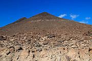 Volcanic peaks against deep blue sky, Jandia peninsula, Fuerteventura, Canary Islands, Spain
