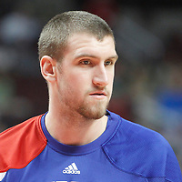 17 March 2012:  Philadelphia Sixers center Spencer Hawes (0) warms up prior to the Chicago Bulls 89-80 victory over the Philadelphia Sixers at the United Center, Chicago, Illinois, USA.