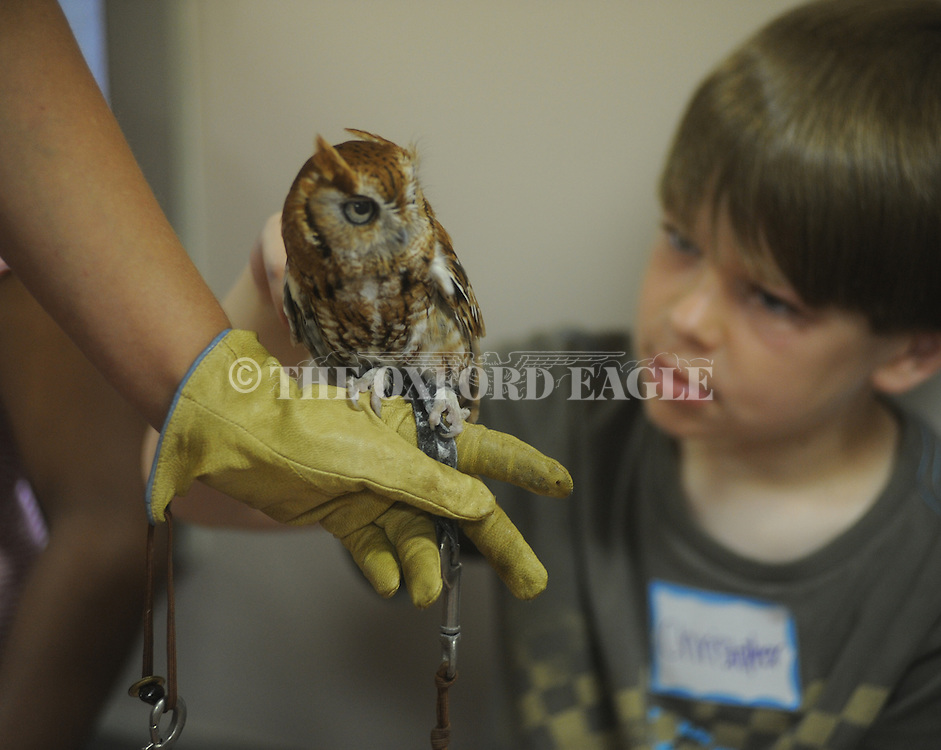 Magen Sier of the Memphis Zoo shows off a screech owl to those attending the Church of Christ's Vacation Bible School in Oxford, Miss. on Thursday, June 10, 2010.