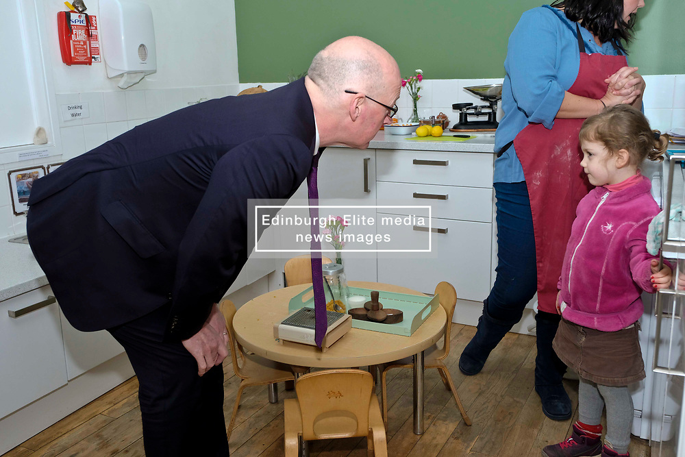 Pictured: Mr Swinney meets Chloe Thower (five)<br /> Deputy First Minister John Swinney visited Cowgate Nursery in Edinburgh to meet children, staff and modern apprentices working in early years and childcare. Mr Swinney confirmed that a record number of early years apprenticeships are expected to start this year as part of the expansion of free nursery and childcare.  Mr Swinney toured the nursery and discussed the City of Edinburgh Council's plans to expand the early years and childcare workforce and met with modern apprentices as well as Jake Stefanovic, an ambassador from the Scottish Government's childcare recruitment campaign.<br /> <br /> <br /> Ger Harley | EEm 13 February 2018