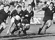 New Zealand All Blacks Rugby union match, Michael Jones backed by Sean Fitzpatrick, Richard Lowe and Gary Whetton. Date unkown. Photo: Norman Smith.