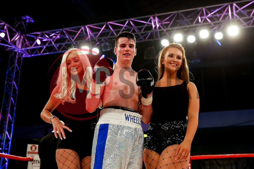 Ryan Wheeler of Bristol (silver shorts) celebrates a points victory over Janis Puksins (green shorts, black trim) in a Super Featherweight bout on the undercard - Photo mandatory by-line: Rogan Thomson/JMP - 07966 386802 - 13/06/2015 - SPORT - BOXING - Bristol, England - Action Indoor Sports Arena - Lee Haskins vs Ryosuke Iwasa - Interim IBF World Bantamweight Title Fight - UNDERCARD.