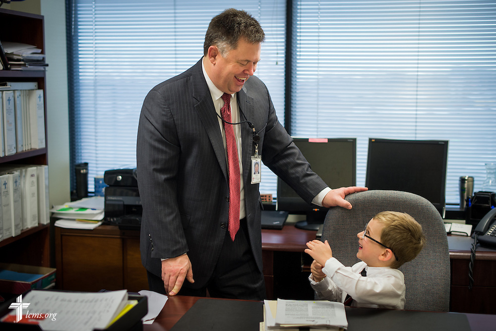 Mark Hofman, executive director of LCMS Mission Advancement, plays with his 4-year-old boy Matthew at his office at the LCMS International Center on Friday, Dec. 13, 2013, in Kirkwood, Mo. LCMS Communications/Erik M. Lunsford
