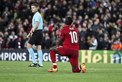 October 24, 2018 - Liverpool, United Kingdom - Liverpool forward Sadio Mane (10) prays after scoring his goal during the Uefa Champions League Group Stage football match n.3  Liverpool v FK Crvena Zvezda on October 24, 2018, at the Anfield Road in Liverpool, England. (Credit Image: © Matteo Bottanelli/NurPhoto via ZUMA Press)