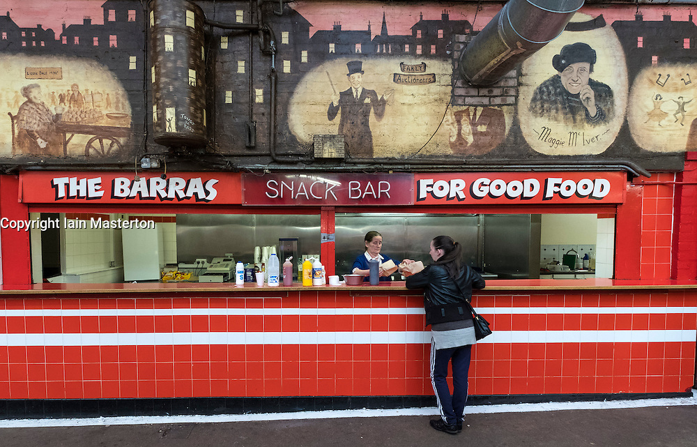 Snack Bar at the Barras inside Barrowland market in Gallowgate East End of Glasgow United Kingdom