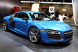 12 February 2015:  2015 AUDI R8 V10 Plus: Every inch a supercar, the 2015 Audi R8 Coupe and Spyder challenges convention with the use of new materials and technologies in a visionary way. The German company's stylish ultra-sports car wears newly structured LED daytime running lights and LED headlights, hexagonal grille, redesigned side mirrors, large, round tailpipe trim and rear lights with innovative dynamic turn signals. Engineered to perform on the track as well as for comfortable weekend cruising, the R8 is offered with a choice of three different engines. Consumers can op for the 430 horsepower 4.2 liter R8 V-8, or one of the two versions of the 5.2L V-10s. The R8 V10 generates 525hp, while the R8 V10 Plus bumps that up to 550hp. All variations come linked to the new seven-speed S tronic double-clutch gearbox that improves performance with smoother shifts. An option is the gated six-speed manual transmission. The 2015 R8 V10 Plus, offered as a coupe only, comes with weight saving carbon fiber side blades, front splitter, rear diffuser, spoiler; a smaller fuel tank; manual Alcantara seats and ceramic brakes. A Bang & Olufsen audio system contains 12 speakers and an impressive 465 watts of power. As the top-of-the-line Audi model, the R8 is capable of catapulting from zero to 60 mph in 3.3 seconds and reach a top track speed of 196 mph.<br /> <br /> First staged in 1901, the Chicago Auto Show is the largest auto show in North America and has been held more times than any other auto exposition on the continent. The 2015 show marks the 107th edition of the Chicago Auto Show. It has been  presented by the Chicago Automobile Trade Association (CATA) since 1935.  It is held at McCormick Place, Chicago Illinois