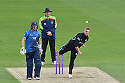 Scott Borthwick (Surrey) gets his wicket during the Royal London 1 Day Cup match between Surrey County Cricket Club and Kent County Cricket Club at the Kia Oval, Kennington, United Kingdom on 12 May 2017. Photo by Jon Bromley.