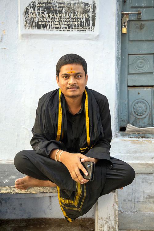 KADIRI, INDIA - 03rd November 2019 - Portrait of holy Hindu devotee at Kadiri temple, Andhra Pradesh, South India.
