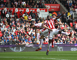 Ashley Barnes of Burnley (R) heads at goal - Mandatory by-line: Jack Phillips/JMP - 22/04/2018 - FOOTBALL - Bet365 Stadium - Stoke-on-Trent, England - Stoke City v Burnley - English Premier League
