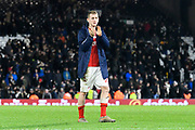 George Saville (22) of Middlesbrough  applauds the travelling fans at full time during the EFL Sky Bet Championship match between Fulham and Middlesbrough at Craven Cottage, London, England on 17 January 2020.
