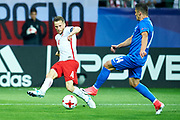 Lublin, Poland - 2017 June 16: (L) Tomasz Kedziora from Poland U21 fights for the ball with (R) Robert Mazan from Slovakia U21 while Poland v Slovakia match during 2017 UEFA European Under-21 Championship at Lublin Arena on June 16, 2017 in Lublin, Poland.<br /> <br /> Mandatory credit:<br /> Photo by &copy; Adam Nurkiewicz / Mediasport<br /> <br /> Adam Nurkiewicz declares that he has no rights to the image of people at the photographs of his authorship.<br /> <br /> Picture also available in RAW (NEF) or TIFF format on special request.<br /> <br /> Any editorial, commercial or promotional use requires written permission from the author of image.