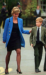 Prince William begins his first term at Eton College on September 16, 1995. His is accompanied by his mother, Diana, Princess of Wales, his father, Prince Charles, Prince of Wales and his brother, Prince Harry.