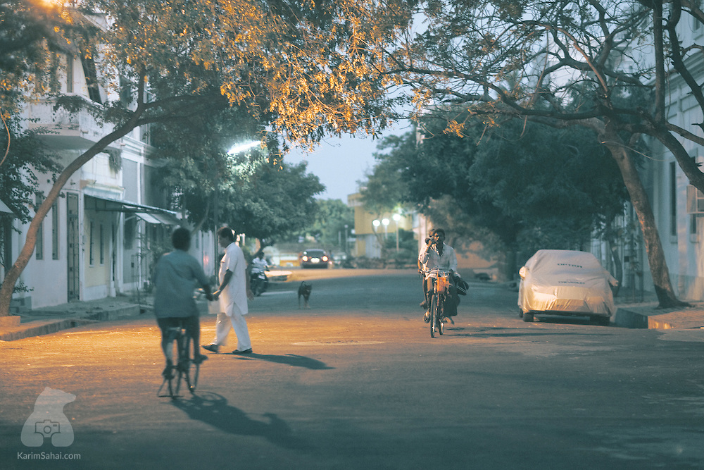 Pedestrians on Dumas street, Union Territory of Puducherry, India.
