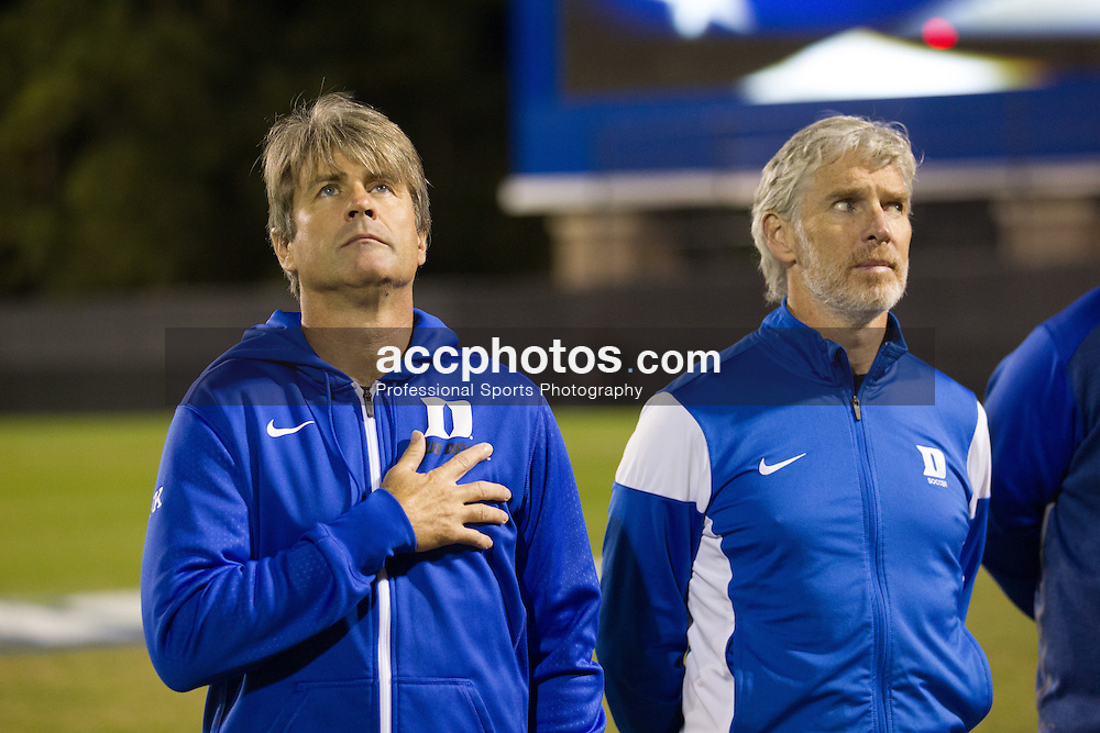 2015 October 30: Head coach John Kerr of the Duke Blue Devils during a 2-1 win over the Virginia Tech Hokies at Koskinen Stadium in Durham, NC.