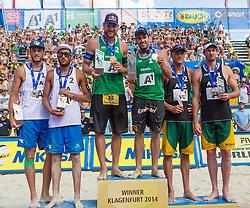 03.08.2014, Strandbad, Klagenfurt, AUT, A1 Beachvolleyball Grand Slam 2014, Finalspiel, im Bild v.l. Silber für Daniele Lupo (ITA), Paolo Nicolai (ITA), Gold für Bruno Oscar Schmidt (BRA), Alison CONTE Cerutti (BRA) und Bronce für Isaac Kapa (AUS), Christopher McHugh (AUS) // during the A1 Beachvolleyball Grand Slam at the Strandbad Klagenfurt, Austria on 2014/08/03. EXPA Pictures © 2014, EXPA Pictures © 2014, PhotoCredit: EXPA/ Mag. Gert Steinthaler