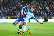 Leicester City midfielder Riyad Mahrez (26) and Manchester City midfielder Fabian Delph (18) during the Premier League match between Leicester City and Manchester City at the King Power Stadium, Leicester, England on 18 November 2017. Photo by John Potts.