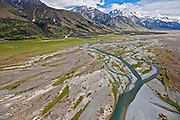 braided Tasman River along the eastern side of Southern Alps, South Island, New Zealand