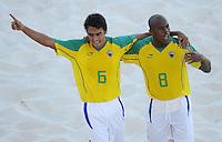 FIFA BEACH SOCCER WORLD CUP 2008 BRAZIL - SPAIN   18.07.2008 BRUNO (left) celebrates his goal with JUNIOR NEGAO (BRA).