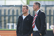 Forest Green Rovers manager, Mark Cooper and Cheltenham Town manager Michael Duff during the EFL Sky Bet League 2 match between Forest Green Rovers and Cheltenham Town at the New Lawn, Forest Green, United Kingdom on 20 October 2018.