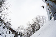 Alex Yoder does a stalefish off the side of a bridge on the outskirts of Niseko, Hokkaido, Japan. The Gentemstick Rocketfish he is riding is not your typical freestyle board. This was one of Rip Zinger's secret spots. Arigato, Rip-san.