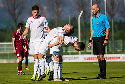 Klemen Sturm of NS Mura and Luka Susnjara of NS Mura during Football match between NK Triglav Kranj and NS Mura in 28th Round of Prva liga Telekom Slovenije 2018/19, on April 20, 2019, in Sports centre Kranj, Slovenia. Photo by Grega Valancic / Sportida