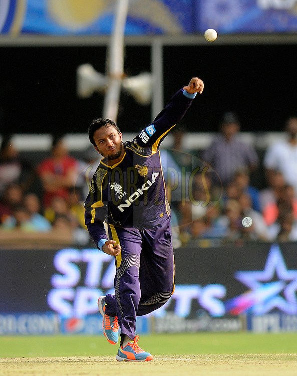 Shakib Al Hasan of the Kolkata Knight Riders bowls during match 25 of the Pepsi Indian Premier League Season 2014 between the Rajasthan Royals and the Kolkata Knight Riders held at the Sardar Patel Stadium, Ahmedabad, India on the 5th May  2014<br /> <br /> Photo by Pal Pillai / IPL / SPORTZPICS      <br /> <br /> <br /> <br /> Image use subject to terms and conditions which can be found here:  http://sportzpics.photoshelter.com/gallery/Pepsi-IPL-Image-terms-and-conditions/G00004VW1IVJ.gB0/C0000TScjhBM6ikg