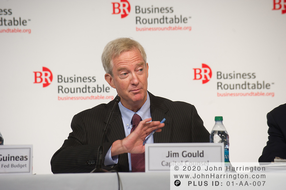 """Jim Gould, Capitol Counsel, LLC, Former Chief Tax Counsel, Senate Finance Committee speaks in a panel at the Business Roundtable """"Meeting the Challenges of Economic Growth and Deficit Reduction"""" discussion at the Newseum in Washington, DC on September 6th, 2011."""