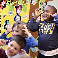 "Adam Robison | BUY AT PHOTOS.DJOURNAL.COM<br /> Tristan Green, 5, a student at the Kangaroo's Pouch Day Care Center in Pontotoc, sings ""5 Monkey's Swinging in a Tree"" in class Wednesday morning in Pontotoc."