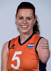 06-05-2014 NED: Selectie Nederlands zitvolleybal team vrouwen, Leersum<br /> In sporthal De Binder te Leersum werd het Nederlands team zitvolleybal seizoen 2014-2015 gepresenteerd / Karin van der Haar