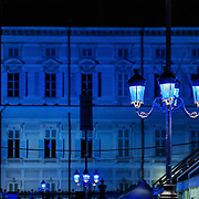 Palazzo Reale in Piazza Castello<br /> Torino in blu per la Settimana Europea della Cultura<br /> a Torino(dal 23 al 28 settembre 2014)<br /> i principali monumenti e musei della città illuminati di blu<br /> da Iren Servizi e Innovazione, la Società <br /> del Gruppo Iren che in città gestisce 99.000 punti luce, <br /> alimentati da una rete elettrica di 2.900 chilometri.