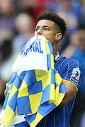 AFC Wimbledon striker Lyle Taylor (33) contemplating promotion during the Sky Bet League 2 play off final match between AFC Wimbledon and Plymouth Argyle at Wembley Stadium, London, England on 30 May 2016.
