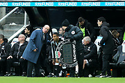 Newcastle United manager Rafael Benitez issues instructions to Isaac Hayden (#14) of Newcastle United on the sideline as he waits to replace Mohamed Diame (#10) of Newcastle United during the Premier League match between Newcastle United and Huddersfield Town at St. James's Park, Newcastle, England on 31 March 2018. Picture by Craig Doyle.
