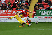 Battle of the 8's AFC Wimbledon midfielder Jake Reeves (8) and Charlton Athletic midfielder Andrew Crofts (8) during the EFL Sky Bet League 1 match between Charlton Athletic and AFC Wimbledon at The Valley, London, England on 17 September 2016. Photo by Stuart Butcher.